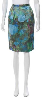 Isaac Mizrahi Watercolor Printed Skirt