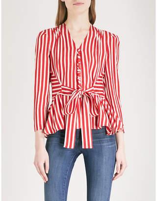 Stella McCartney Striped tie-waist silk-jacquard top