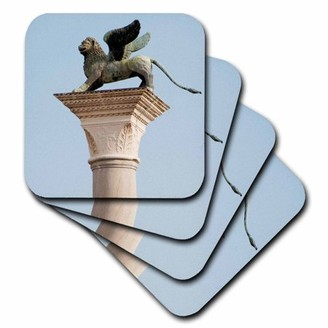 3dRose Winged lion statue, Saint Mark, Piazzetta, Venice. Italy - EU16 PRI0186 - Prisma, Soft Coasters, set of 4