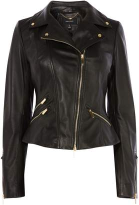 Next Womens Karen Millen Black Leather Biker Jacket With Gold Trims