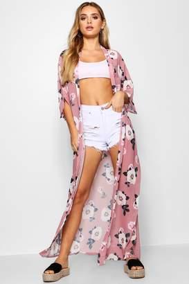 boohoo Zoe Maxi Rose Print Kimono