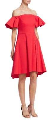 Halston Flounce Sleeve Dress