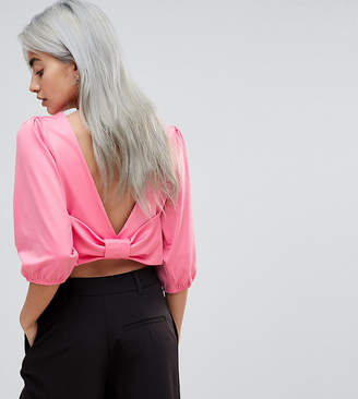 Asos Crop Top with Puffed Sleeve and Bow Back