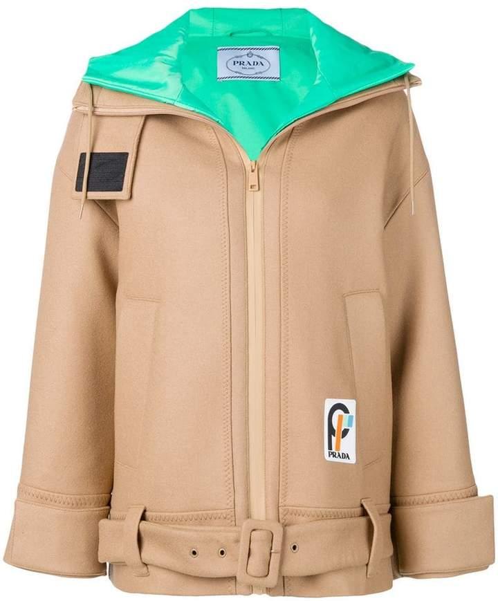 zipped caban coat