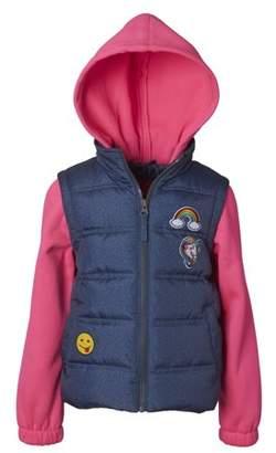 Pink Platinum 2Fer Hooded Jacket with Fleece Sleeves (Little Girls & Big Girls)