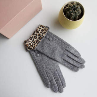 Studio Hop Merino Wool Touch Screen Gloves With Animal Cuff
