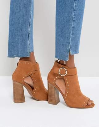 Asos Design TAMARA Studded High Block Heeled Shoe Boots