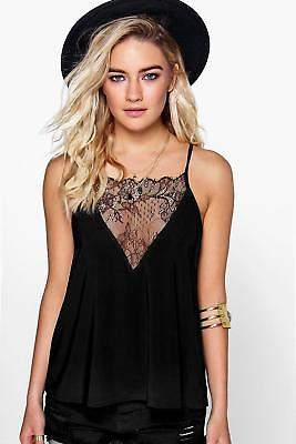 boohoo Womens Taylor Lace Panel Slinky Strappy Cami