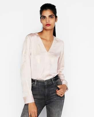 Express Petite Satin Shimmer Popover Shirt