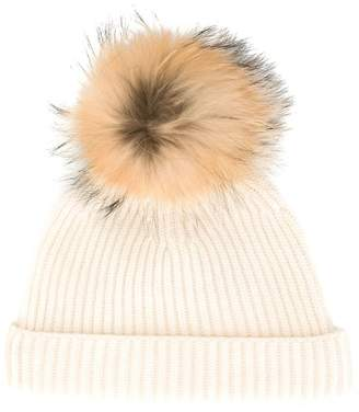 N.Peal detachable pompom ribbed hat