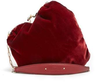 Carry Secrets heart-shaped velvet bag