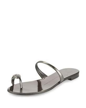 Giuseppe Zanotti Metallic Crystal Toe-Ring Flat Sandal, Anthracite $495 thestylecure.com