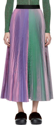 Christopher Kane Purple Two-Tone Pleated Taffeta Skirt