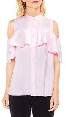 Vince Camuto Cold-Shoulder Ruffled Button-Down Shirt