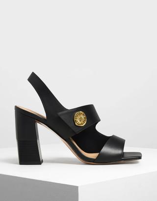 Charles & Keith Asymmetrical Chunky Heel Sandals