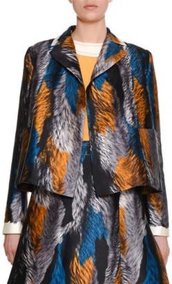 Marni Multicolor Fur-Print Woven Jacket