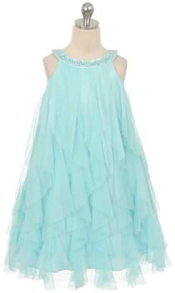 Kids Dream Zoe- Mesh Ruffle Dress Aqua