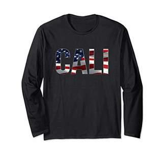 California 4th of July American Flag Long Sleeve T-Shirt