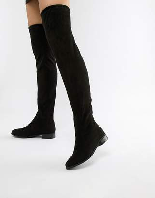 London Rebel Flat Pull On Over The Knee Boot