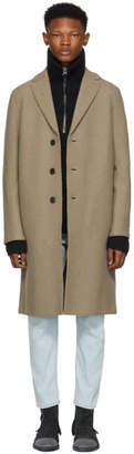 Harris Wharf London Brown Boiled Wool Overcoat