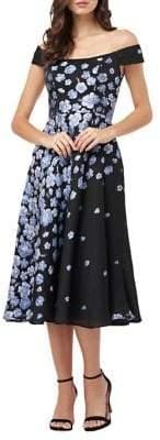 Carmen Marc Valvo Floral Off-the-Shoulder Fit-&-Flare Dress