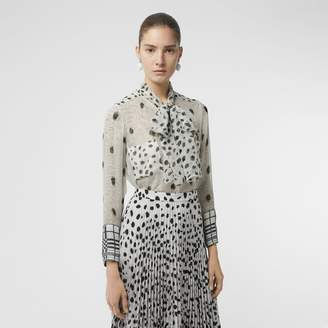 Burberry Dalmatian Print Silk Pussy-bow Blouse