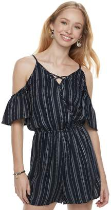 Love, Fire Love Fire Juniors' Striped Cold-Shoulder Romper