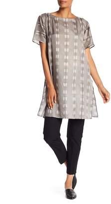 Eileen Fisher Short Sleeve Print Silk Tunic