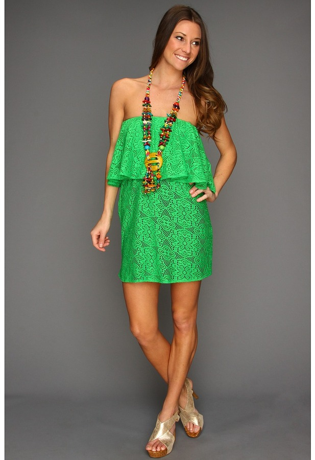 T-Bags Tbags Los Angeles - Layered Tube Mini Dress with Multi-Colored Necklace (Kelly Green) - Apparel