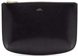 A.P.C. Sarah Snakeskin Effect Leather Pouch - Womens - Dark Blue