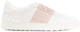 Valentino White and Pink Garavani Open Sneakers