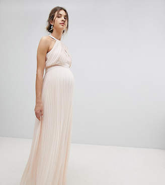 TFNC Maternity bridesmaid exclusive wedding pleated maxi dress in pearl pink