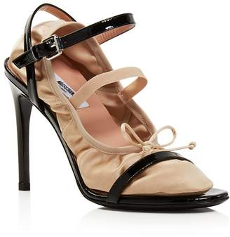 Moschino Women's 2-in-1 Patent Leather & Satin Ankle Strap Sandals