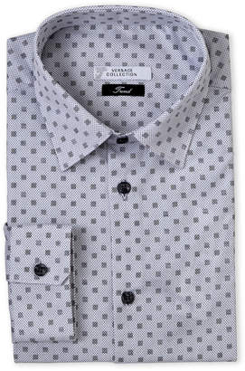 Versace White Dot Print Trend Fit Dress Shirt