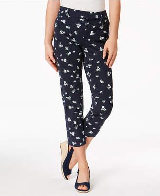 Charter Club Newport-Print Slim-Leg Cropped Pants