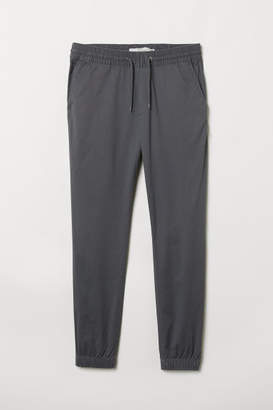 H&M Brushed Cotton Twill Joggers - Gray