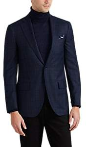 Isaia Men's Delain Select Overplaid Wool Flannel Two-Button Sportcoat - Navy