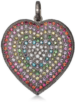 Carolina Bucci 18k Black Gold Florentine Rainbow Heart Pendant