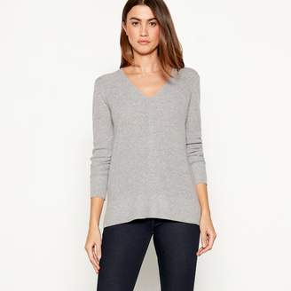 J by Jasper Conran Grey Ribbed Knit V-Neck Long Sleeve Jumper