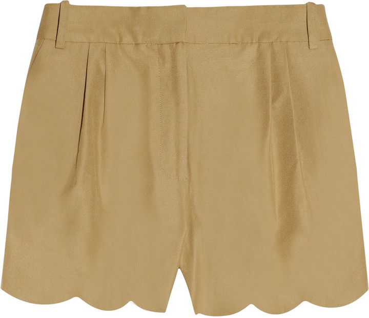 J.Crew Scalloped cotton and silk-blend shorts