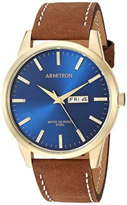 Armitron Men's 20/5311NVGPBN Day/Date Function Gold-Tone and Brown Leather Strap Watch