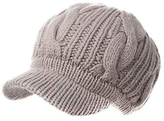 Siggi Beige Women 100 Merino Wool Thick Knit Winter Beret Newsgirl Hat Visor Cap