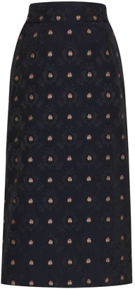 N. Duo high-waisted floral midi skirt