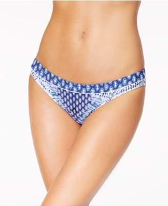 Jessica Simpson Bondi Tie-Dyed Shirred-Back Cheeky Bikini Bottoms