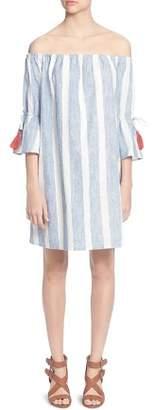 Catherine Malandrino Randee Striped Off-the-Shoulder Dress