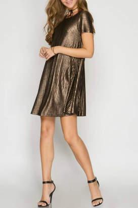 She + Sky Metallic Ribbed Dress