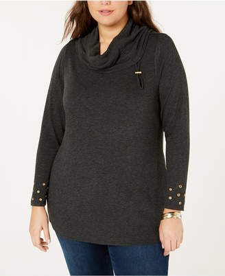 Belldini Belle by Plus Size Cowl-Neck Grommet Sweater