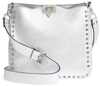Valentino Small Rockstud Metallic Leather Hobo