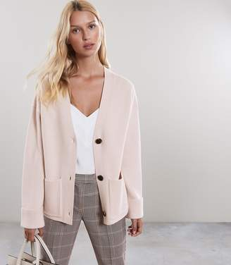 Reiss JESSIE Ribbed Cardigan Neutral