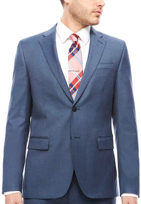 Jf J.Ferrar Stretch Blue Sheen Sharkskin Suit Jacket- Slim Fit